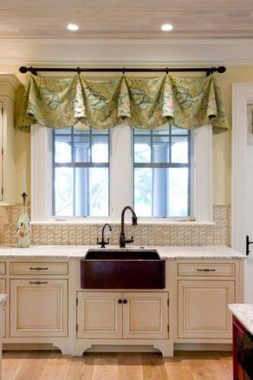 Modernas cortinas de tela para cocina peque a - Cortinas de tela para cocina ...