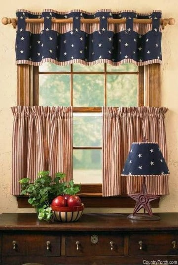 Modernas cortinas de tela para cocina peque a for Como hacer cortinas de cocina
