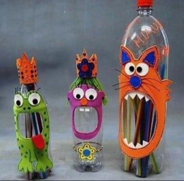 trabajos con botellas descartables para niños