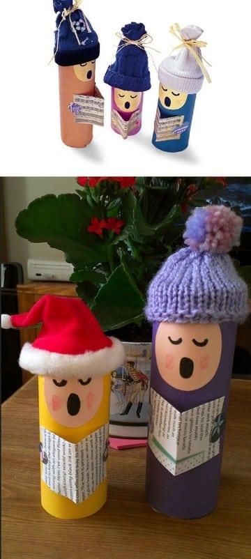 adornos navideños con rollos de papel higienico caseros