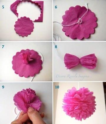 como hacer flores con papel china crepe