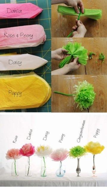 como hacer flores con papel china seda