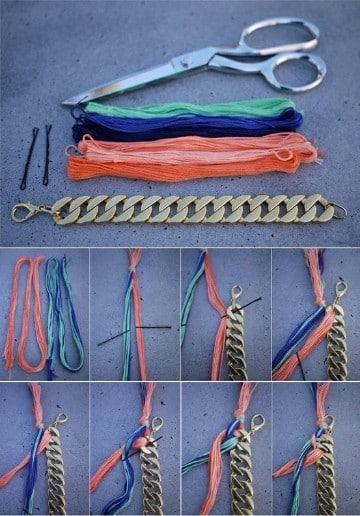 como hacer pulseras con cadenas y liston