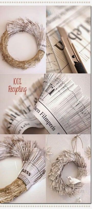 coronas de navidad con material reciclado papel
