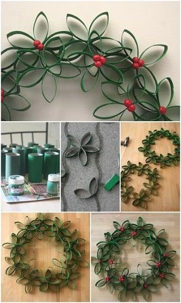 coronas de navidad con material reciclado paso a paso