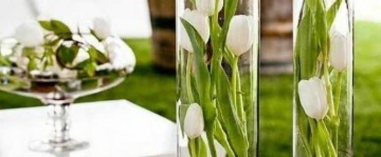 como decorar jarrones de cristal altos y floreros grandes