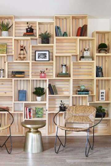 estanterias con cajas de madera paso a paso