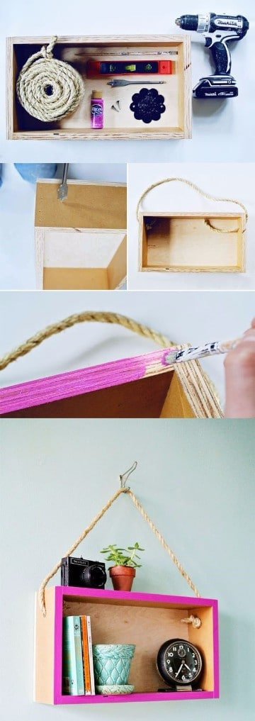 estanterias con cajas de madera pintados