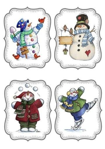 imagenes muñecos de nieve para colorear