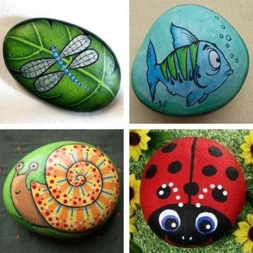 piedras pintadas de animales jardin