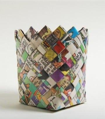 reciclaje con papel periodico manualidades
