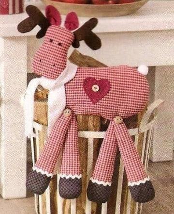 renos navideños en tela moldes