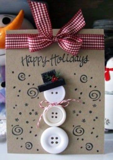 tarjetas navideñas con material reciclado a mano