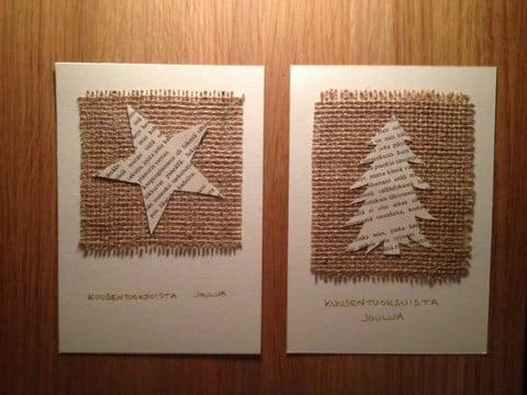 tarjetas navideñas con material reciclado creativa