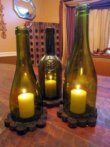 arreglos con botellas de vidrio para navidad