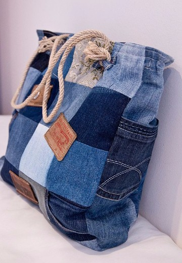 bolsos de jeans decorados reciclados