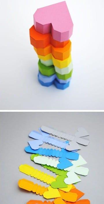 como hacer corazones de papel faciles 3d