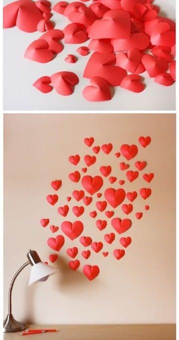 como hacer corazones de papel faciles inflados