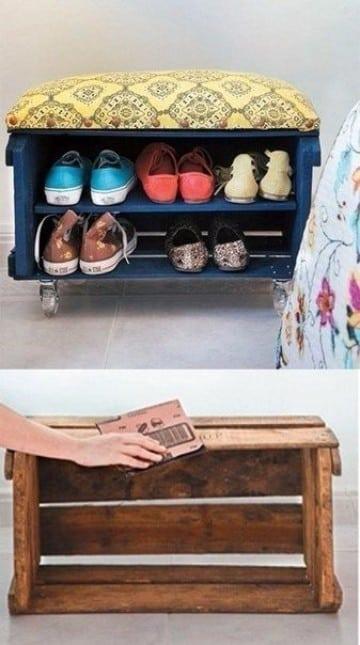 Como hacer un zapatero de madera sencilla modernas - Manualidades de madera paso a paso ...