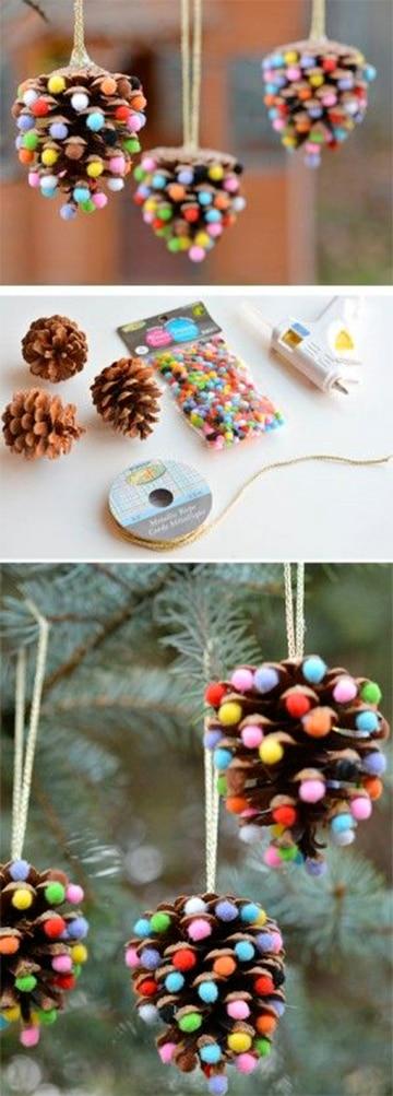 Como decorar con manualidades con pi as secas en navidad - Manualidades navidad con pinas ...