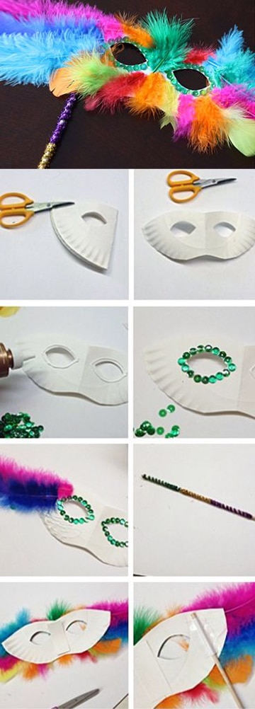 como hacer antifaces para fiestas con plumas