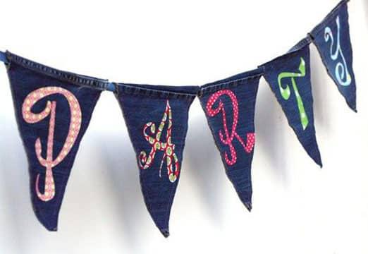 como hacer banderines de tela para cumpleaños