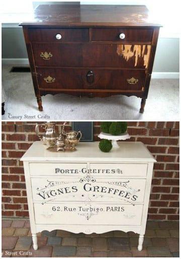 como pintar muebles vintage con frases
