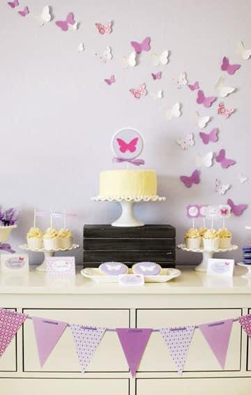 decoracion de mariposas para cumpleaños para 1 año