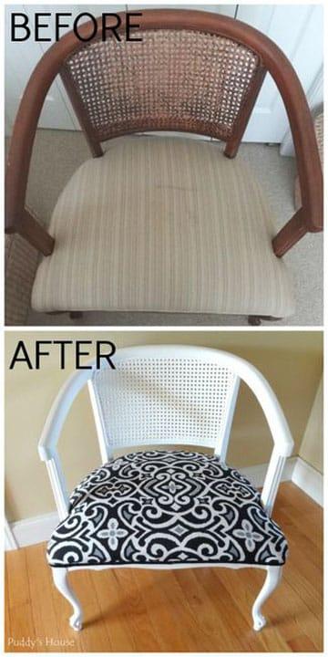 muebles restaurados en blanco silla