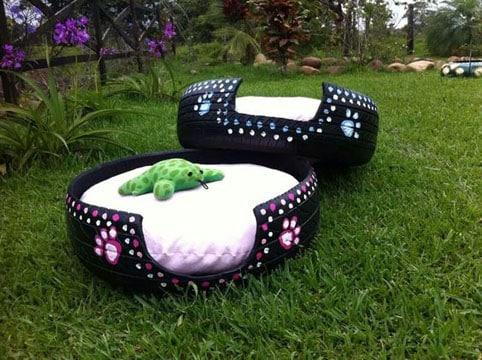 camas para perros recicladas con cauchos