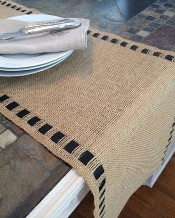 como hacer caminos de mesa de arpillera rusticos gratis