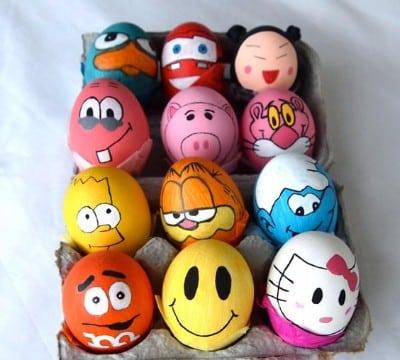 cascarones de huevo decorados de animalitos