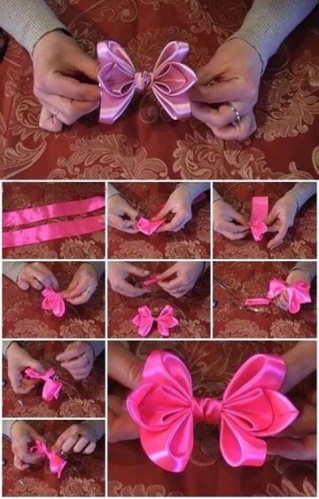 como hacer lazos de raso para vestidos