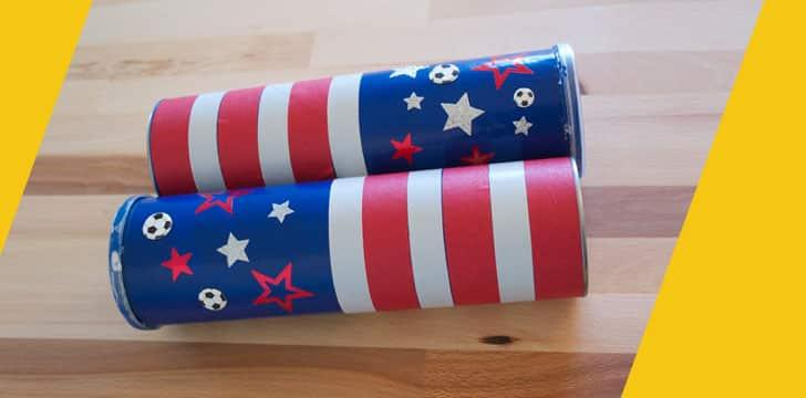 como hacer maracas con latas unidas