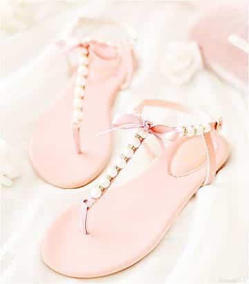 como hacer sandalias con perlas en rosa