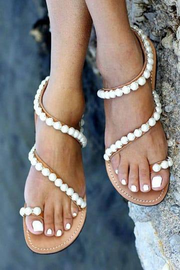 como hacer sandalias con perlas originales