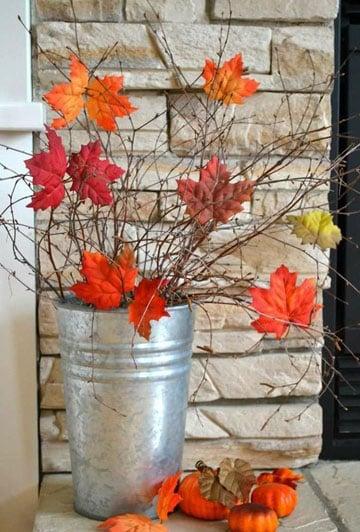 decoracion con hojas secas facil