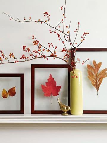 decoracion con hojas secas naturales