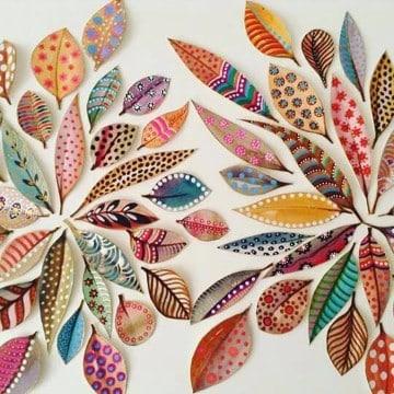 decoraciones con hojas de colores para navidad