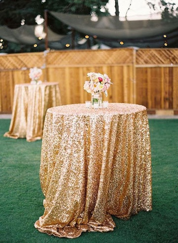 manteles de mesa para boda dorado
