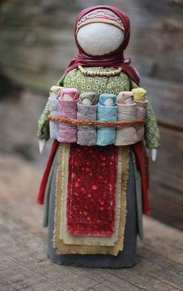 muñecas rusas de trapo con bebe