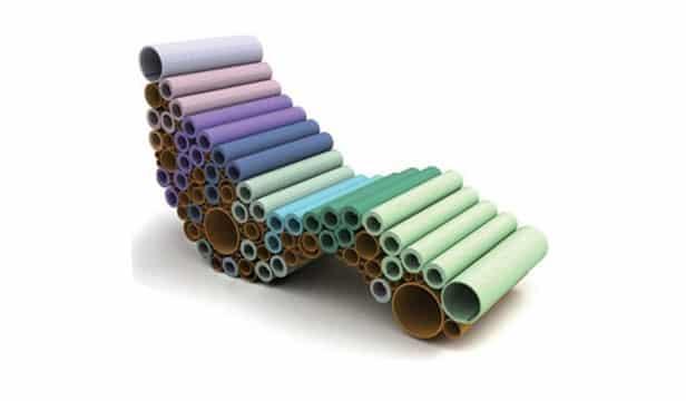 muebles con tubos de carton de colores