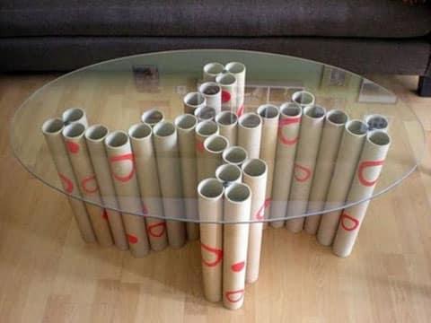 muebles con tubos de carton reciclado