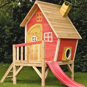 casitas para niña de madera con tobogan