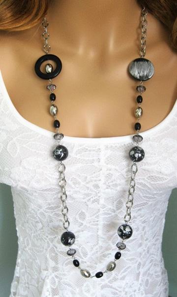 como hacer collares con cadenas largo