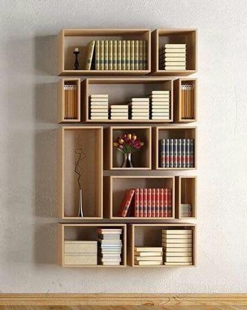 como hacer una estanteria de madera geometrica