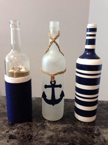 decoracion en botellas de vidrio nautica