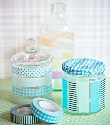 frascos de compotas decorados para baño