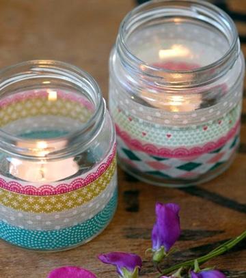 frascos de compotas decorados para velas