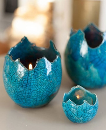 manualidades con cascaron de huevo velas